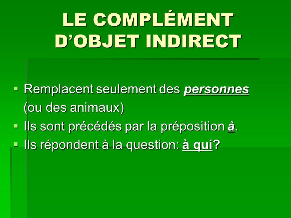 LE COMPLÉMENT D OBJET INDIRECT Remplacent seulement des personnes Remplacent seulement des personnes (ou des animaux) (ou des animaux) Ils sont précédés par la préposition à.