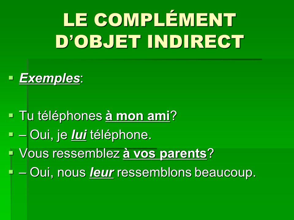 LE COMPLÉMENT D OBJET INDIRECT Exemples: Exemples: Tu téléphones à mon ami.