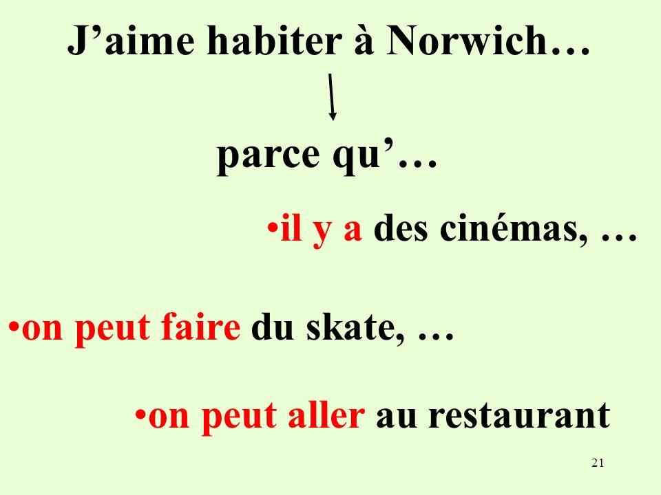 21 Jaime habiter à Norwich… parce qu… il y a des cinémas, … on peut faire du skate, … on peut aller au restaurant