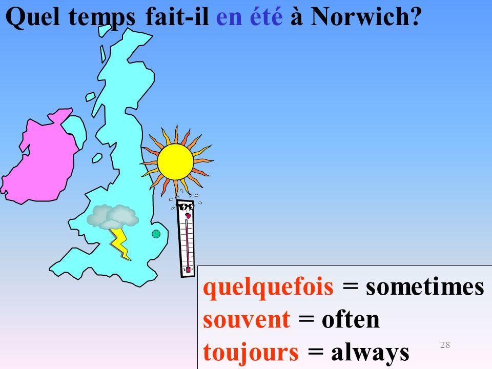 28 Quel temps fait-il en été à Norwich? quelquefois = sometimes souvent = often toujours = always
