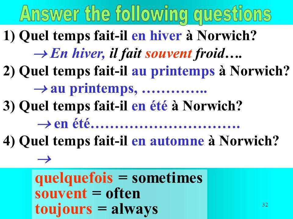 32 1) Quel temps fait-il en hiver à Norwich? En hiver, il fait souvent froid…. 2) Quel temps fait-il au printemps à Norwich? au printemps, ………….. 3) Q