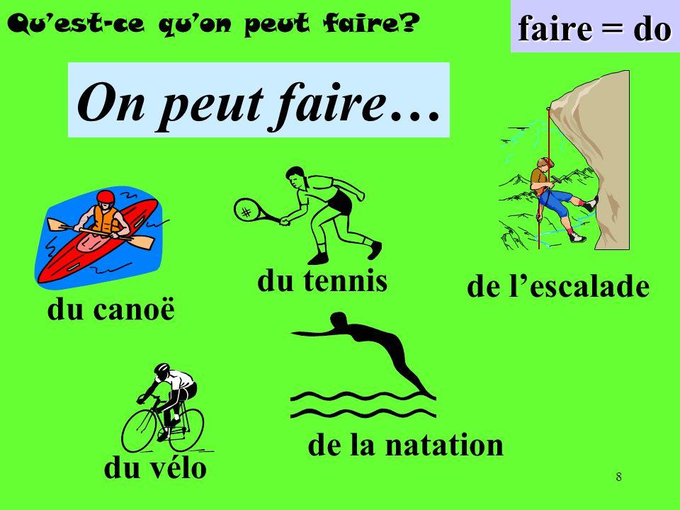 8 Quest-ce quon peut faire? faire = do On peut faire… du canoë du vélo de la natation du tennis de lescalade
