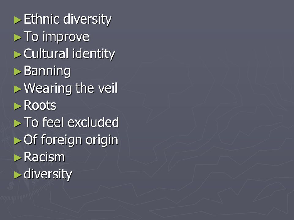 Ethnic diversity Ethnic diversity To improve To improve Cultural identity Cultural identity Banning Banning Wearing the veil Wearing the veil Roots Roots To feel excluded To feel excluded Of foreign origin Of foreign origin Racism Racism diversity diversity
