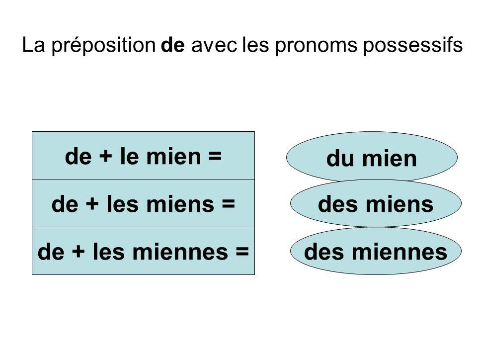 La préposition de avec les pronoms possessifs de + le mien = de + les miens = de + les miennes = du mien des miens des miennes