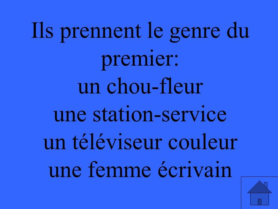 Ils prennent le genre du premier: un chou-fleur une station-service un téléviseur couleur une femme écrivain