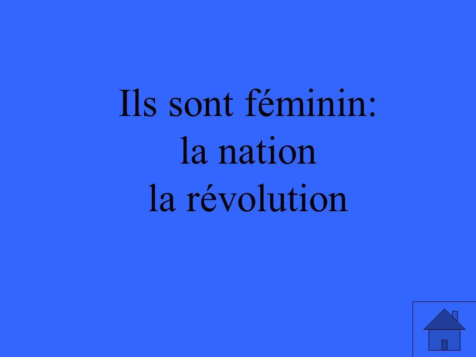 Ils sont féminin: la nation la révolution