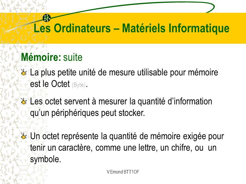 Mémoire: suite Les octet servent à mesurer la quantité dinformation quun périphériques peut stocker. La plus petite unité de mesure utilisable pour mé
