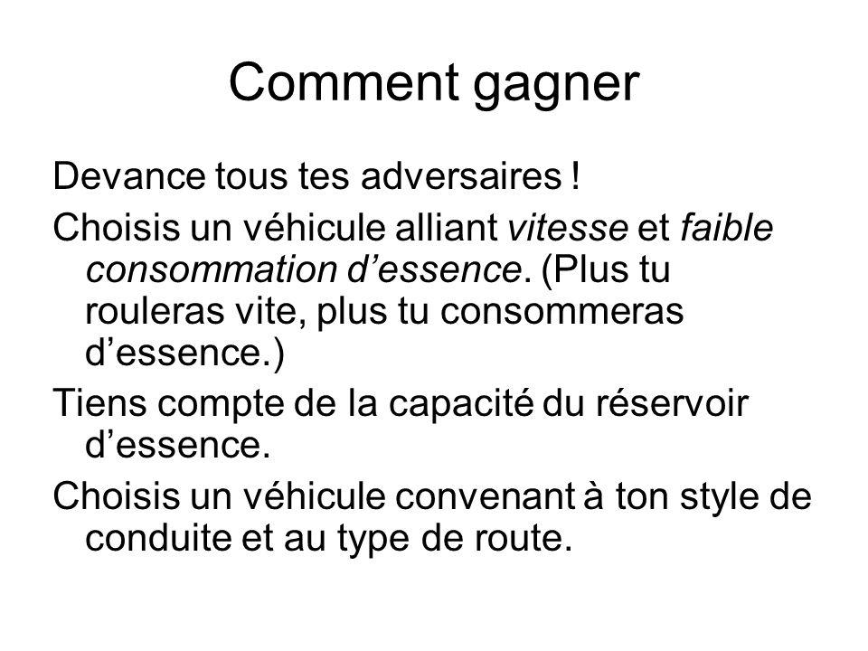 Comparaison des véhicules