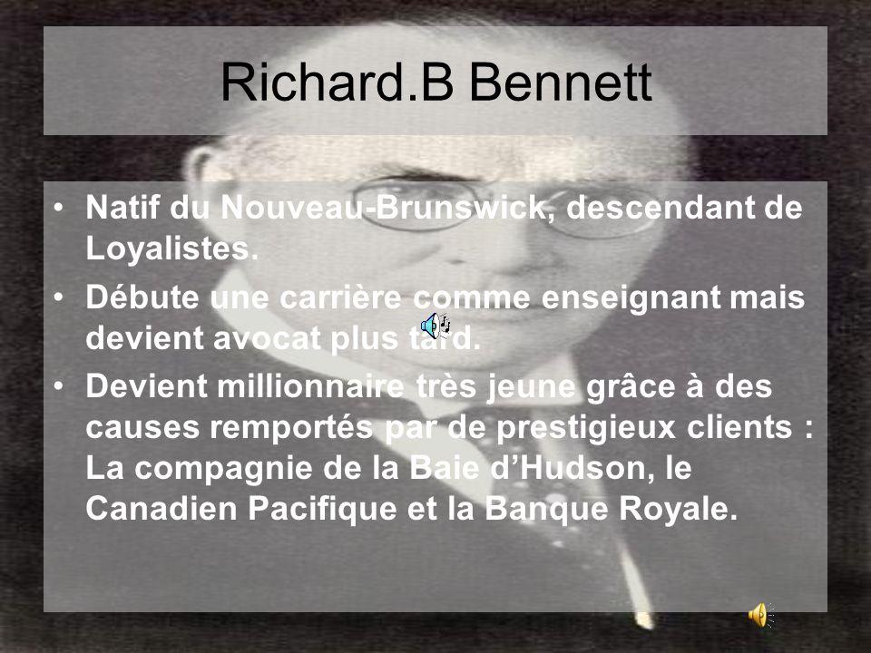 R.B.Bennett –Fidèle méthodiste, jamais marié, il enseigne la liturgie du dimanche.