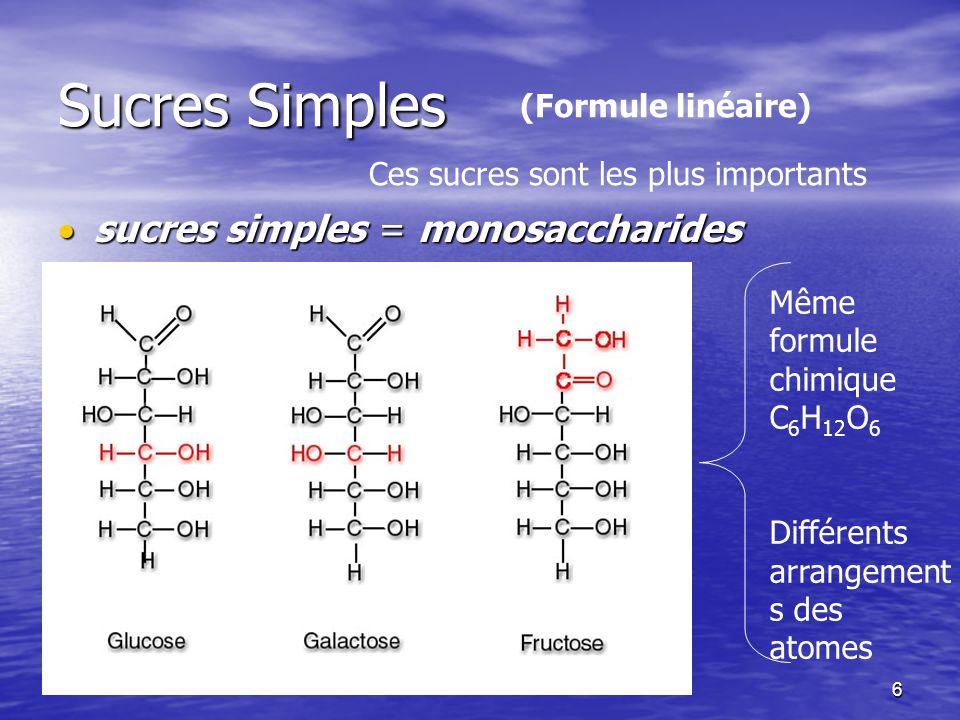 6 Sucres Simples sucres simples = monosaccharides sucres simples = monosaccharides Ces sucres sont les plus importants Même formule chimique C 6 H 12