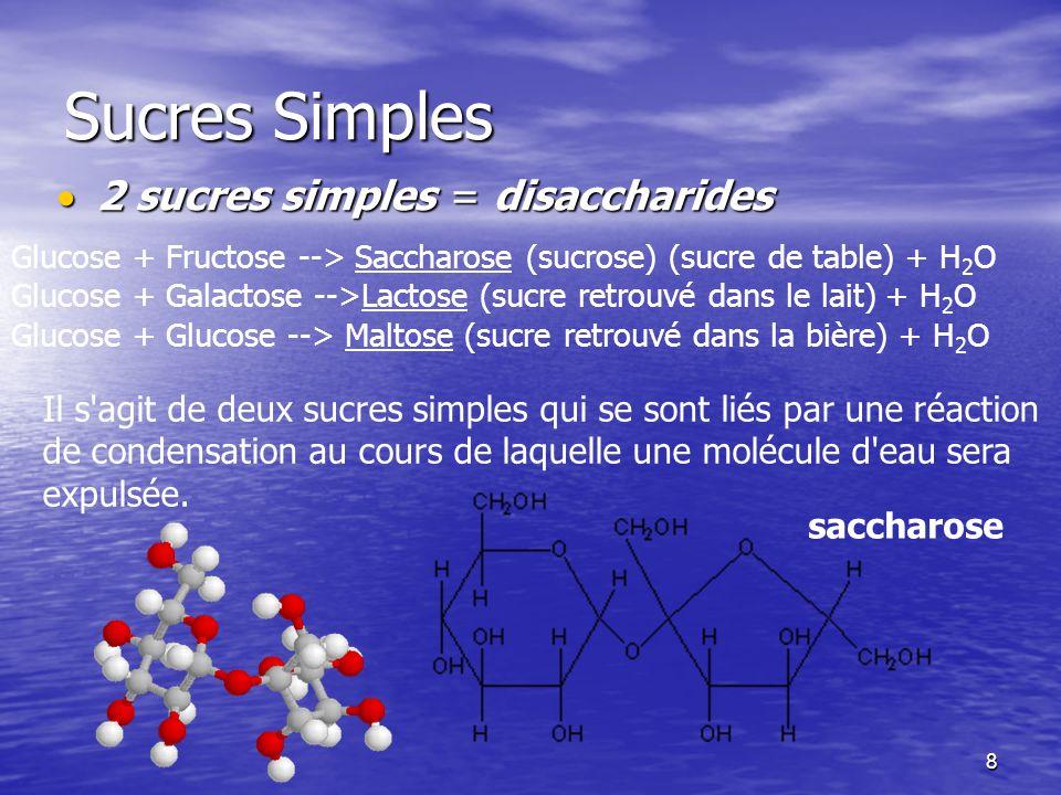8 Sucres Simples 2 sucres simples = disaccharides 2 sucres simples = disaccharides Glucose + Fructose --> Saccharose (sucrose) (sucre de table) + H 2