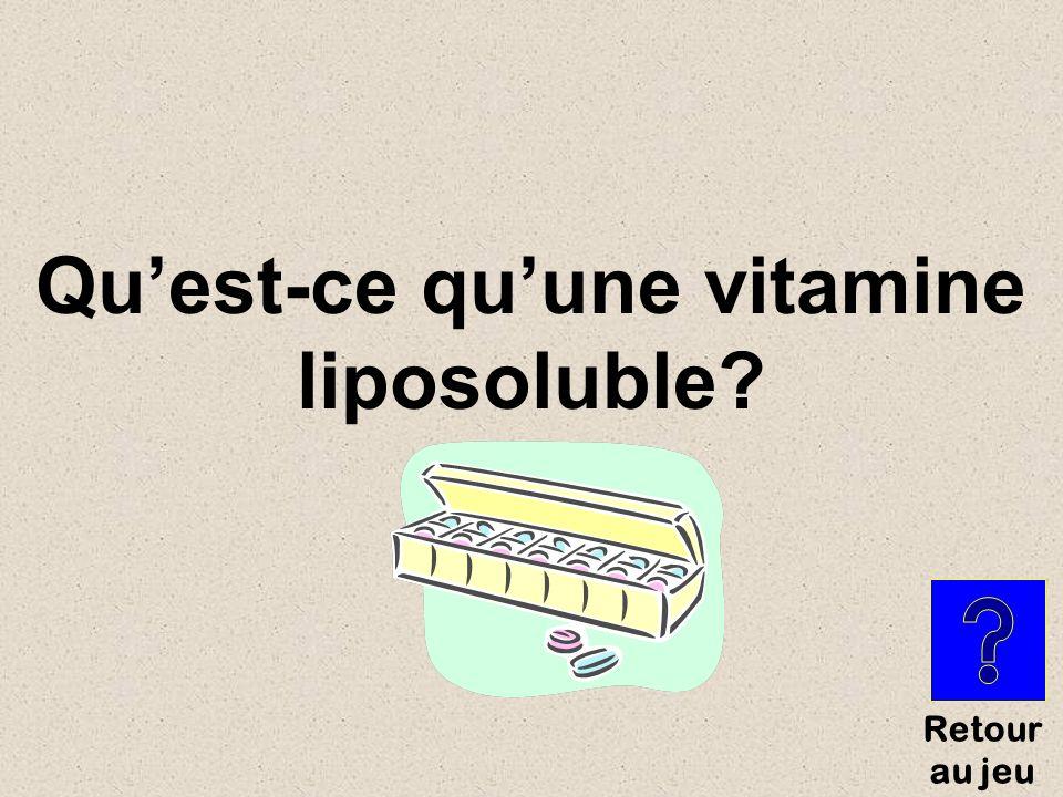 Type de vitamines solubles dans la graisse du corps