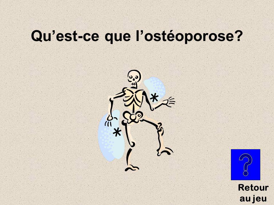 Maladie qui affaiblit les os à cause dune perte osseuse importante, qui diminue la quantité et la qualité de la structure des os.