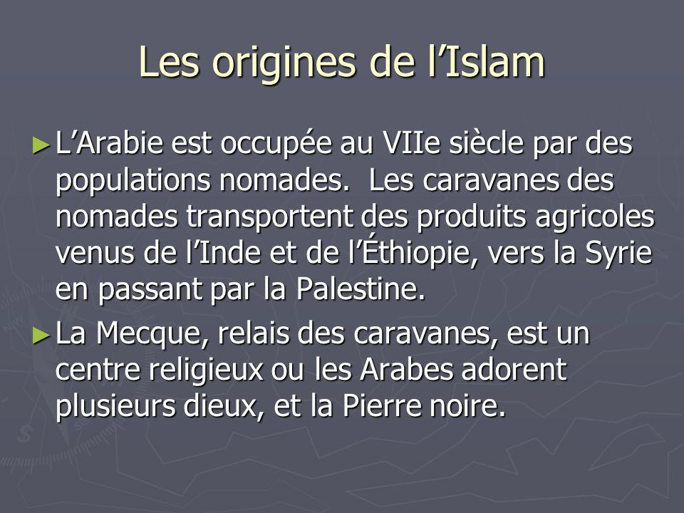 Les origines de lIslam LArabie est occupée au VIIe siècle par des populations nomades. Les caravanes des nomades transportent des produits agricoles v