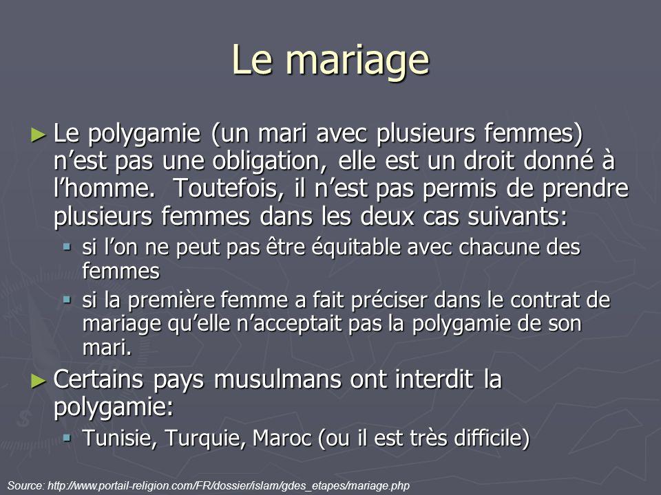 Le mariage Le polygamie (un mari avec plusieurs femmes) nest pas une obligation, elle est un droit donné à lhomme. Toutefois, il nest pas permis de pr