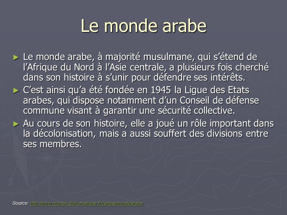 Le monde arabe Le monde arabe, à majorité musulmane, qui sétend de lAfrique du Nord à lAsie centrale, a plusieurs fois cherché dans son histoire à sun