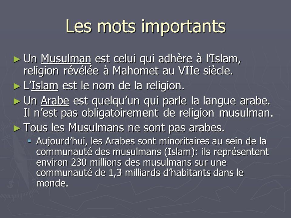 Les mots importants Un Musulman est celui qui adhère à lIslam, religion révélée à Mahomet au VIIe siècle. Un Musulman est celui qui adhère à lIslam, r