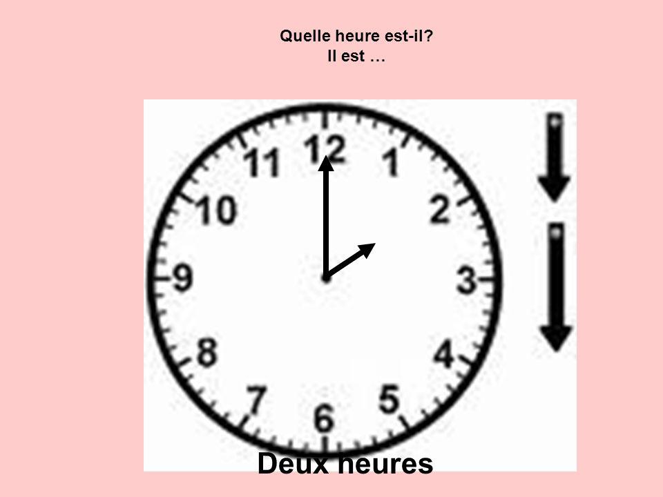 Quelle heure est-il? Il est … Deux heures
