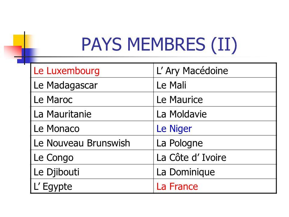 PAYS MEMBRES (II) Le LuxembourgL Ary Macédoine Le MadagascarLe Mali Le MarocLe Maurice La MauritanieLa Moldavie Le MonacoLe Niger Le Nouveau Brunswish
