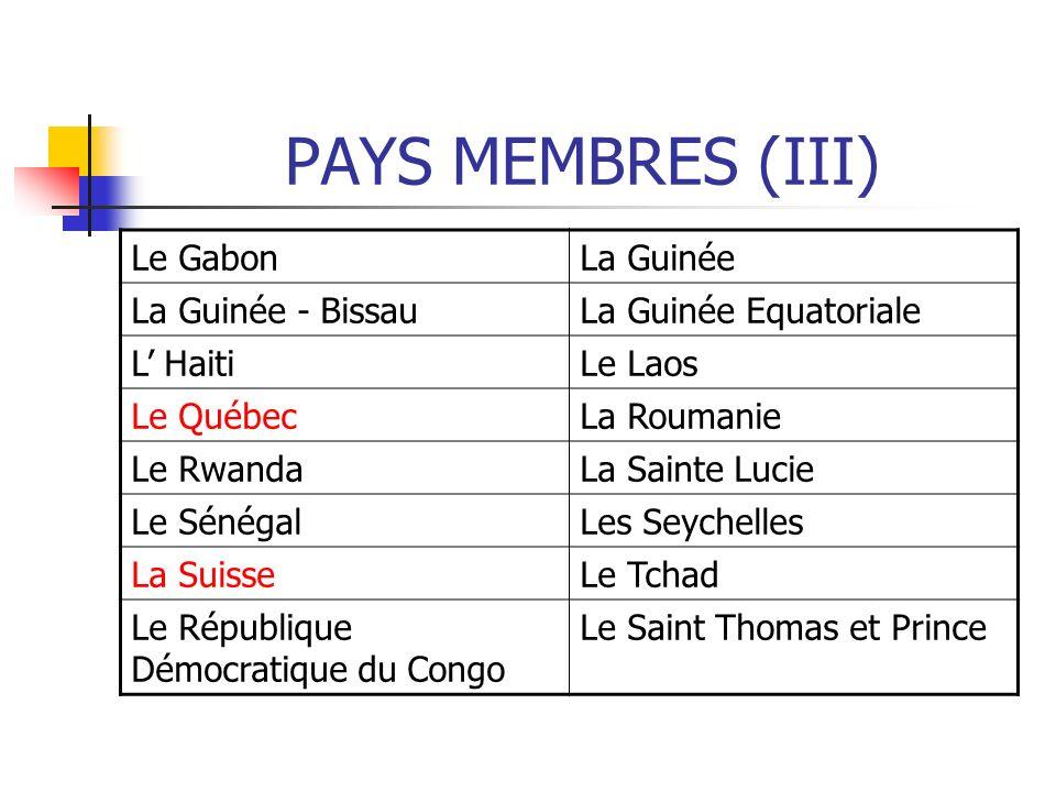 PAYS MEMBRES (III) Le GabonLa Guinée La Guinée - BissauLa Guinée Equatoriale L HaitiLe Laos Le QuébecLa Roumanie Le RwandaLa Sainte Lucie Le SénégalLe
