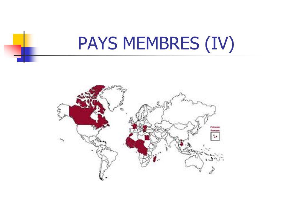CHARTE DE LA FRANCOPHONIE (II) Contribuent à une action multilatérale originale et à la formation dune communauté internationale solidaire.