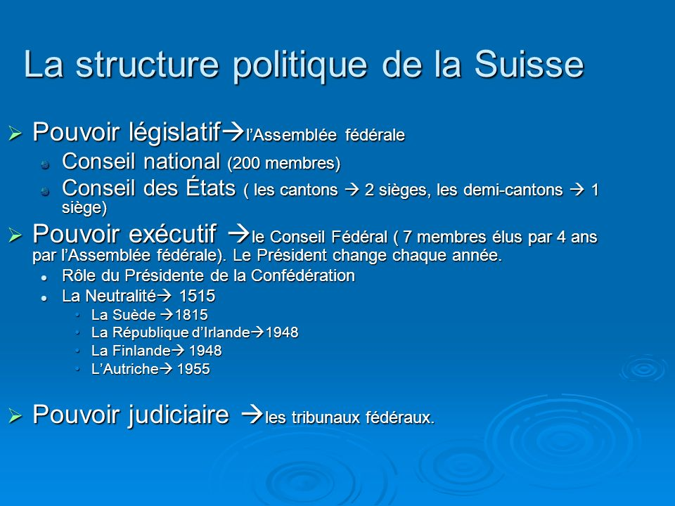 La structure politique de la Suisse Pouvoir législatif lAssemblée fédérale Pouvoir législatif lAssemblée fédérale Conseil national (200 membres) Conse