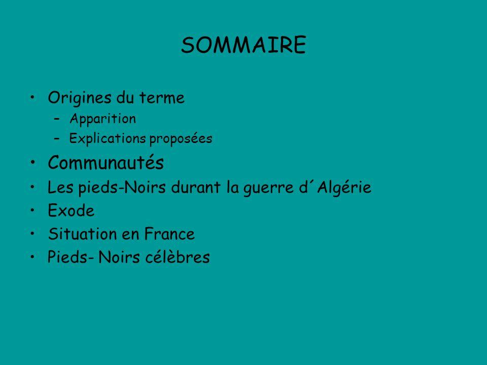 SOMMAIRE Origines du terme –Apparition –Explications proposées Communautés Les pieds-Noirs durant la guerre d´Algérie Exode Situation en France Pieds- Noirs célèbres