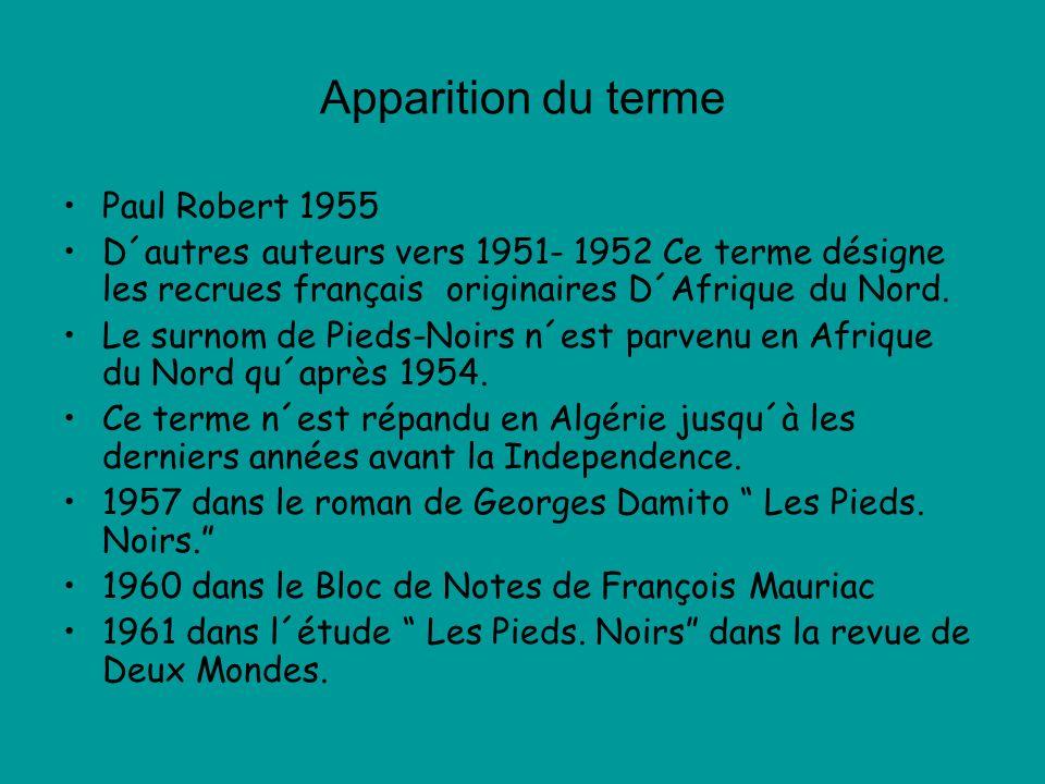 Apparition du terme Paul Robert 1955 D´autres auteurs vers 1951- 1952 Ce terme désigne les recrues français originaires D´Afrique du Nord. Le surnom d