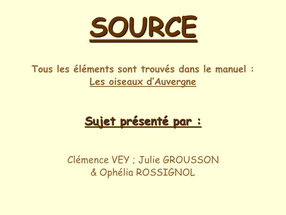 SOURCE Tous les éléments sont trouvés dans le manuel : Les oiseaux dAuvergne Sujet présenté par : Clémence VEY ; Julie GROUSSON & Ophélia ROSSIGNOL