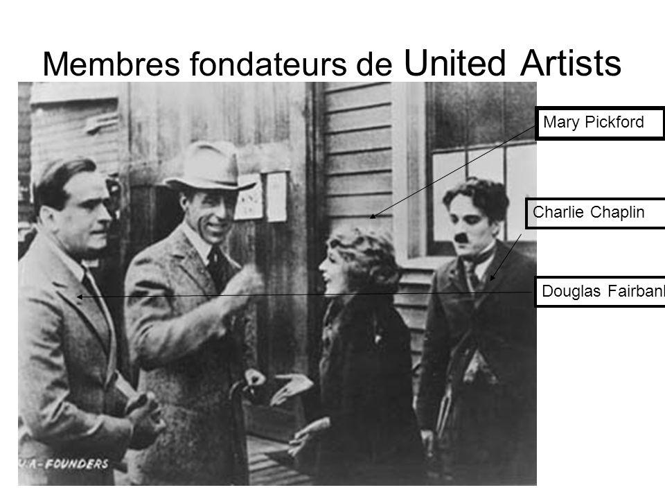 Membres fondateurs de United Artists Mary Pickford Charlie Chaplin Douglas Fairbanks