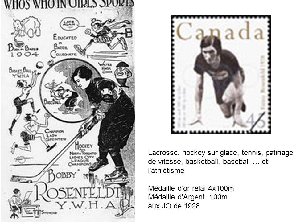 Lacrosse, hockey sur glace, tennis, patinage de vitesse, basketball, baseball … et lathlétisme Médaille dor relai 4x100m Médaille dArgent 100m aux JO
