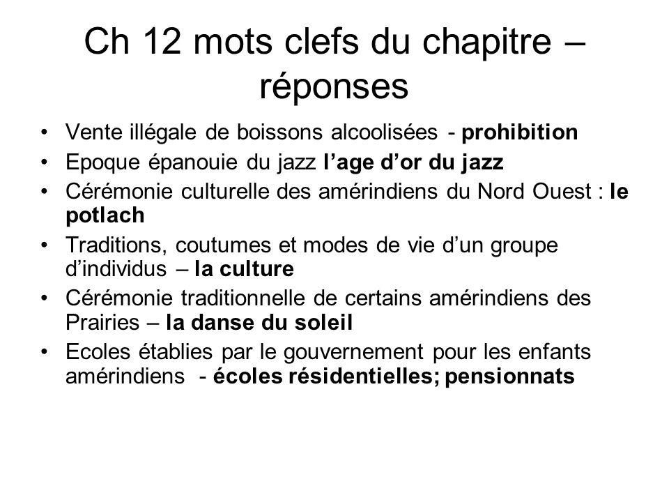 Ch 12 mots clefs du chapitre – réponses Vente illégale de boissons alcoolisées - prohibition Epoque épanouie du jazz lage dor du jazz Cérémonie cultur