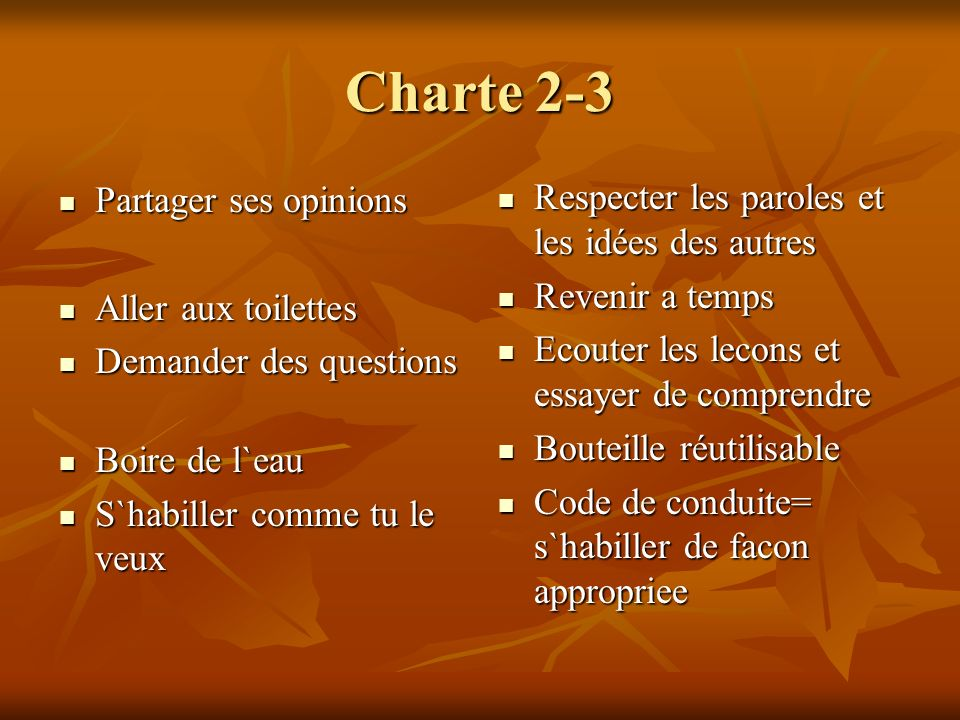 Charte 2-3 Partager ses opinions Partager ses opinions Aller aux toilettes Aller aux toilettes Demander des questions Demander des questions Boire de