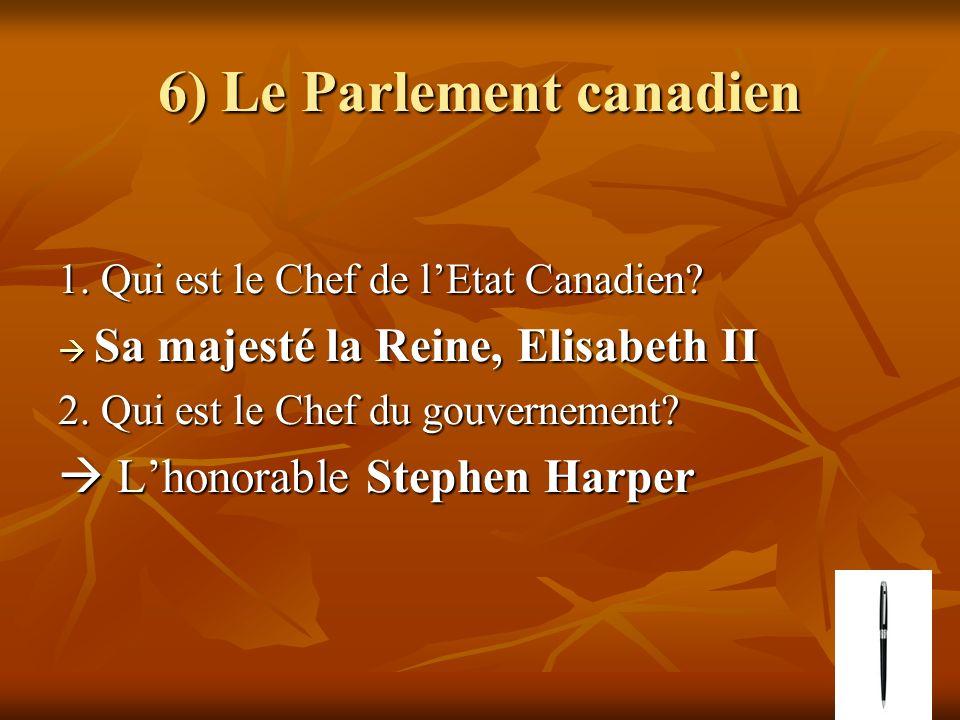 6) Le Parlement canadien 1. Qui est le Chef de lEtat Canadien? Sa majesté la Reine, Elisabeth II Sa majesté la Reine, Elisabeth II 2. Qui est le Chef