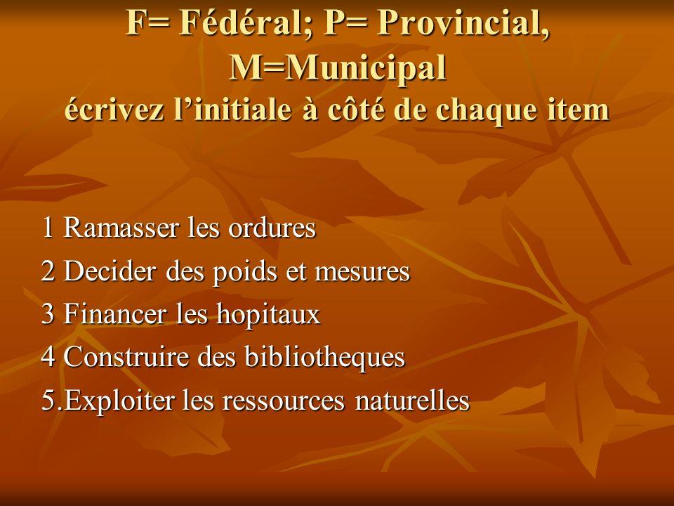 F= Fédéral; P= Provincial, M=Municipal écrivez linitiale à côté de chaque item 1 Ramasser les ordures 2 Decider des poids et mesures 3 Financer les ho
