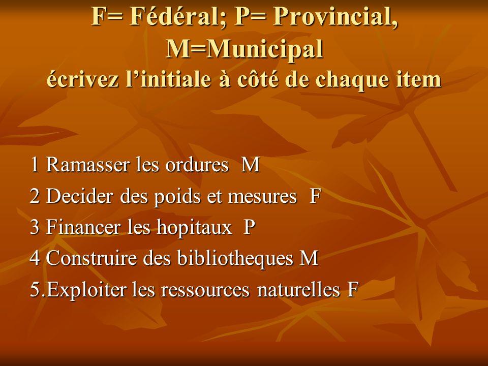 F= Fédéral; P= Provincial, M=Municipal écrivez linitiale à côté de chaque item 1 Ramasser les ordures M 2 Decider des poids et mesures F 3 Financer le