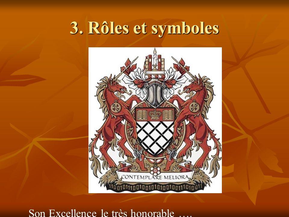 3. Rôles et symboles Son Excellence le très honorable ….