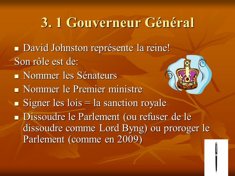 3. 1 Gouverneur Général David Johnston représente la reine! David Johnston représente la reine! Son rôle est de: Nommer les Sénateurs Nommer les Sénat