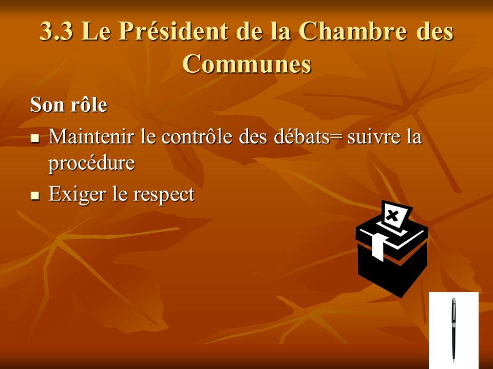 3.3 Le Président de la Chambre des Communes Son rôle Maintenir le contrôle des débats= suivre la procédure Maintenir le contrôle des débats= suivre la