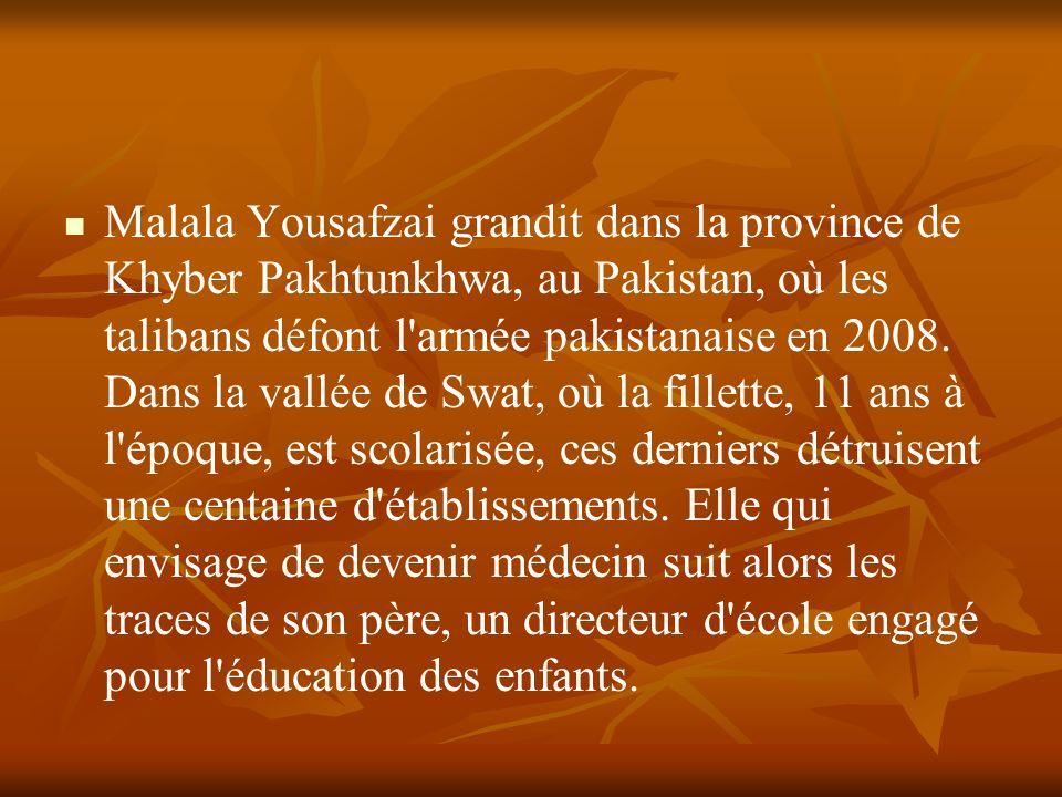 Malala Yousafzai grandit dans la province de Khyber Pakhtunkhwa, au Pakistan, où les talibans défont l'armée pakistanaise en 2008. Dans la vallée de S