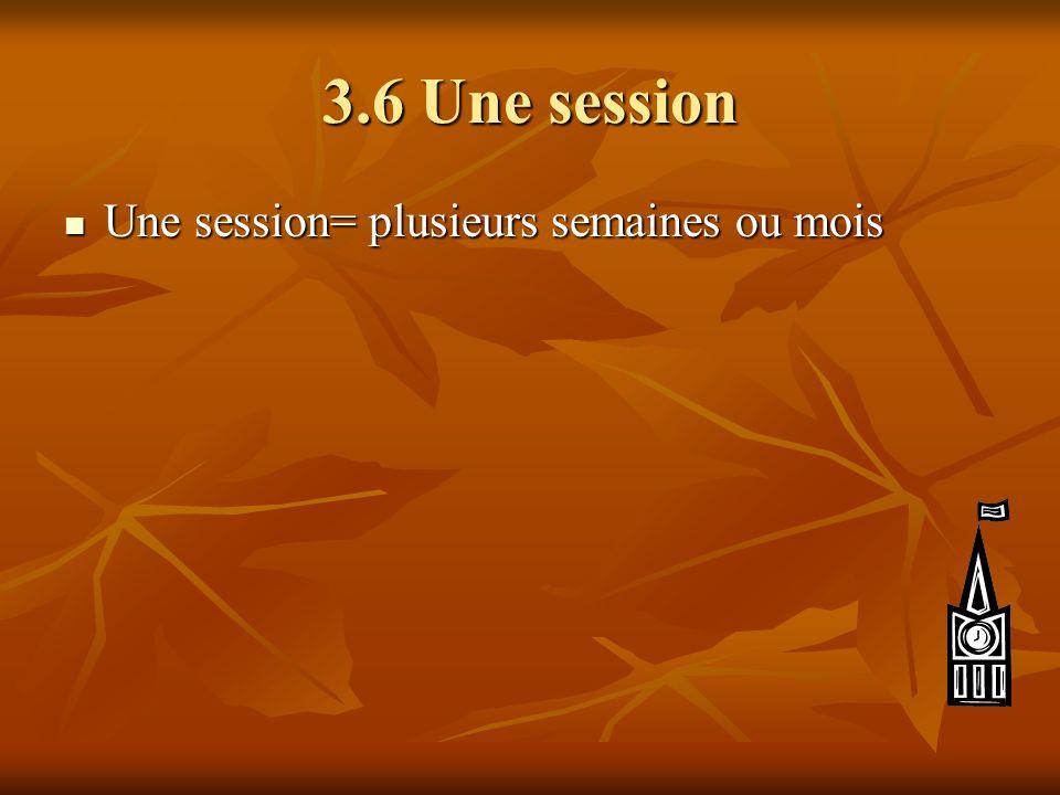 3.6 Une session Une session= plusieurs semaines ou mois Une session= plusieurs semaines ou mois