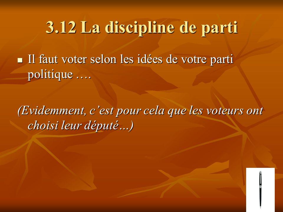 3.12 La discipline de parti Il faut voter selon les idées de votre parti politique …. Il faut voter selon les idées de votre parti politique …. (Evide