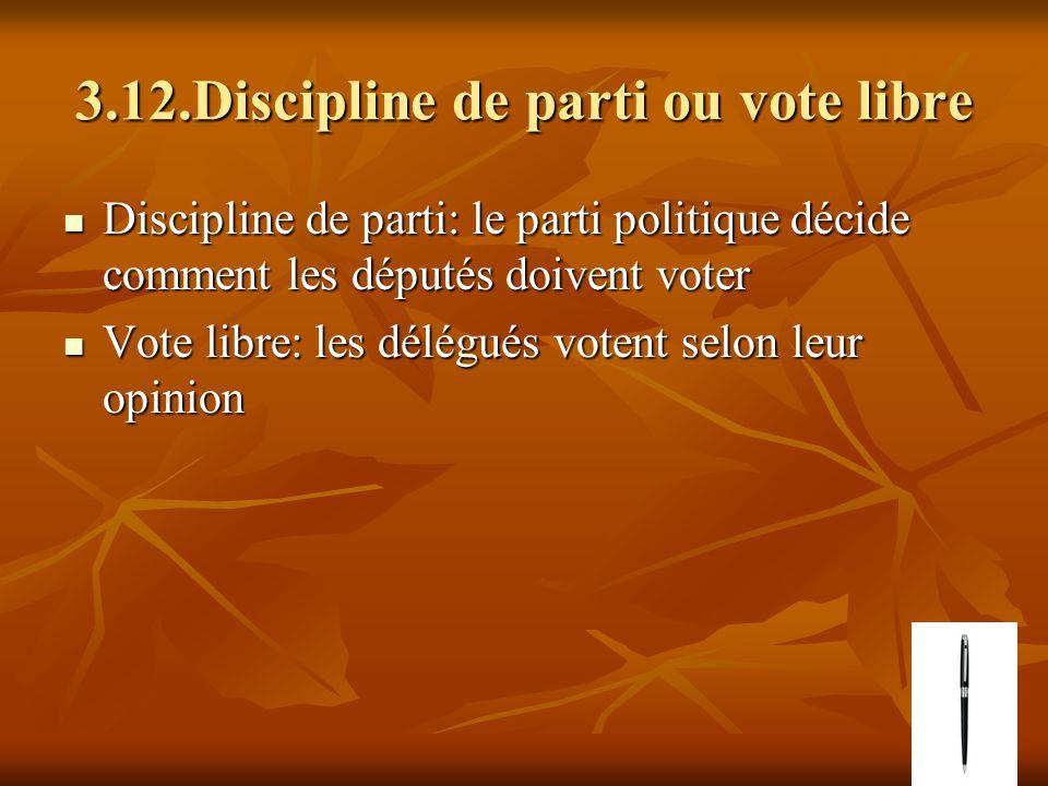 3.12.Discipline de parti ou vote libre Discipline de parti: le parti politique décide comment les députés doivent voter Discipline de parti: le parti
