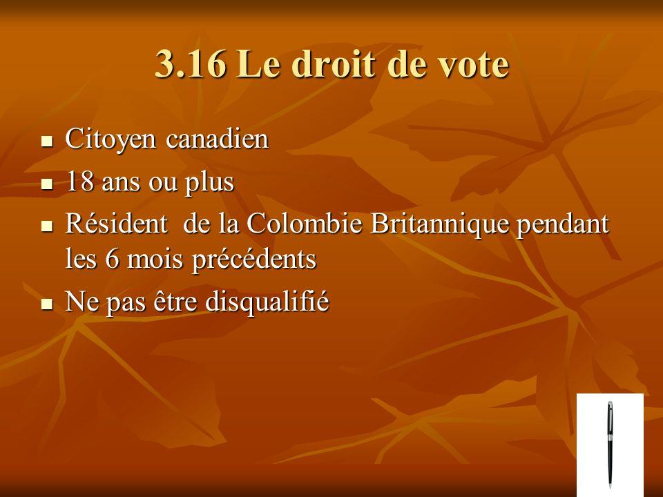 3.16 Le droit de vote Citoyen canadien Citoyen canadien 18 ans ou plus 18 ans ou plus Résident de la Colombie Britannique pendant les 6 mois précédent