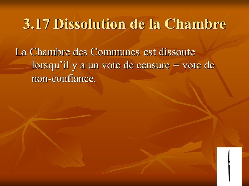 3.17 Dissolution de la Chambre La Chambre des Communes est dissoute lorsquil y a un vote de censure = vote de non-confiance.