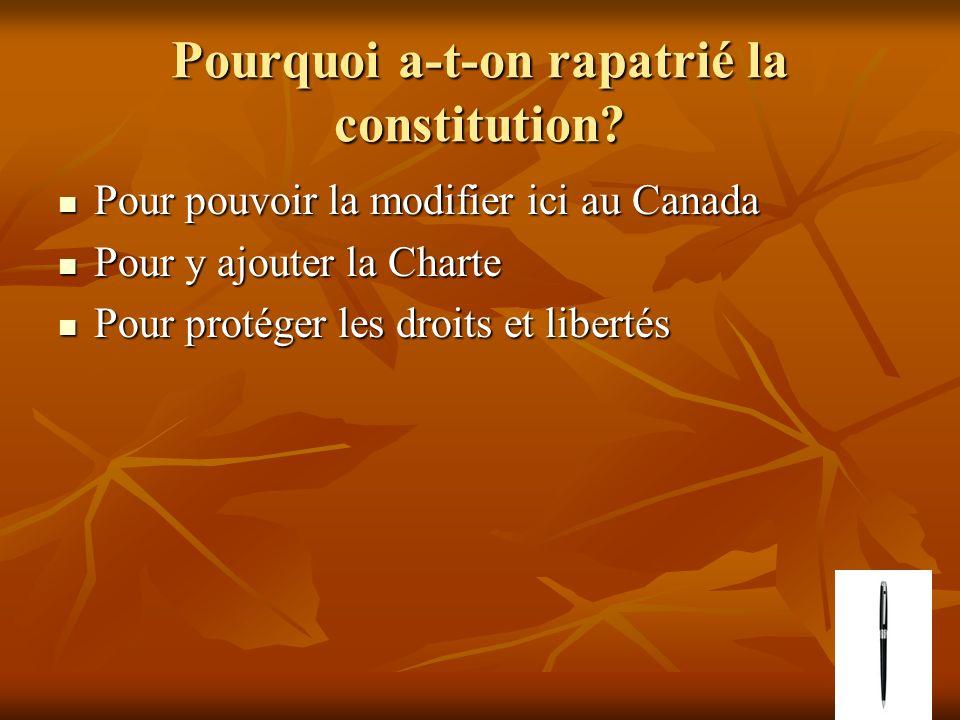 Pourquoi a-t-on rapatrié la constitution? Pour pouvoir la modifier ici au Canada Pour pouvoir la modifier ici au Canada Pour y ajouter la Charte Pour