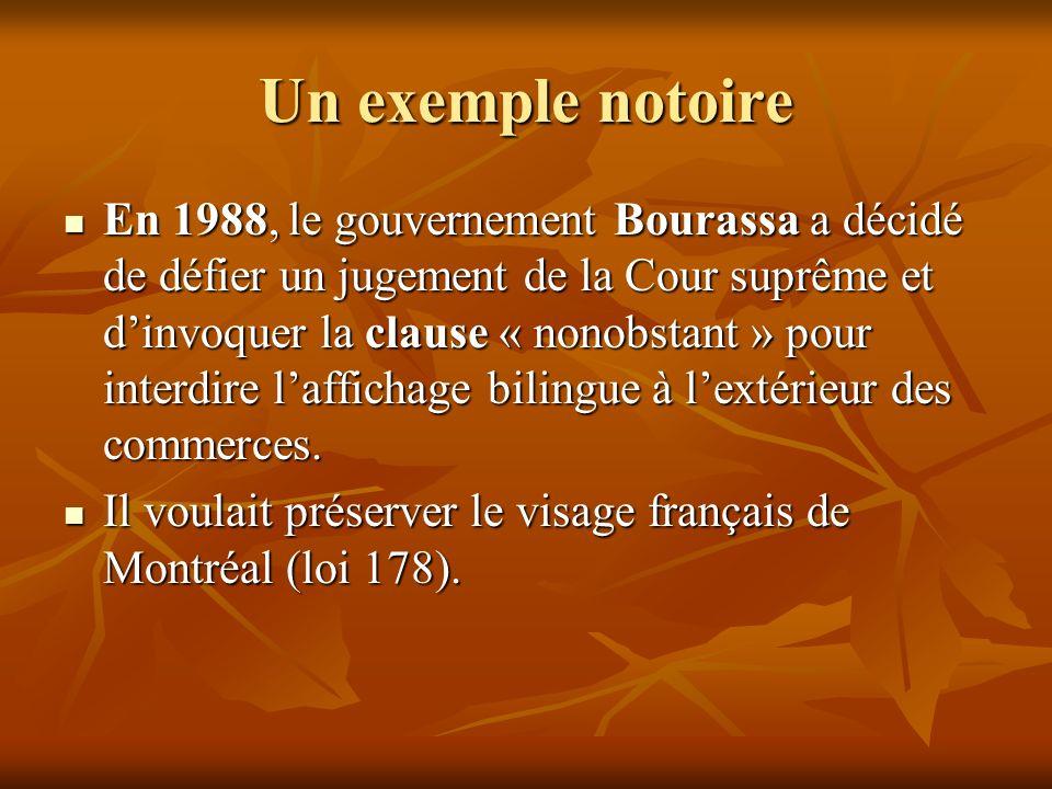 Un exemple notoire En 1988, le gouvernement Bourassa a décidé de défier un jugement de la Cour suprême et dinvoquer la clause « nonobstant » pour inte