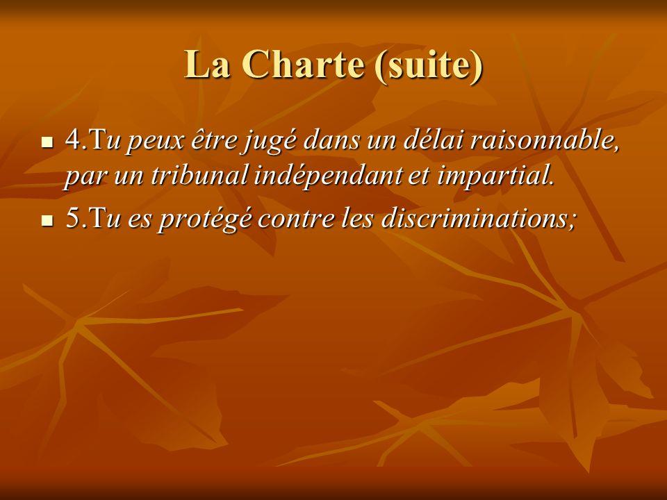 La Charte (suite) 4.Tu peux être jugé dans un délai raisonnable, par un tribunal indépendant et impartial. 4.Tu peux être jugé dans un délai raisonnab