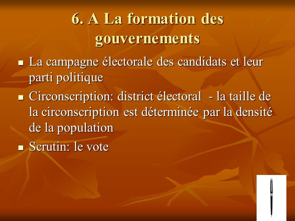 6. A La formation des gouvernements La campagne électorale des candidats et leur parti politique La campagne électorale des candidats et leur parti po