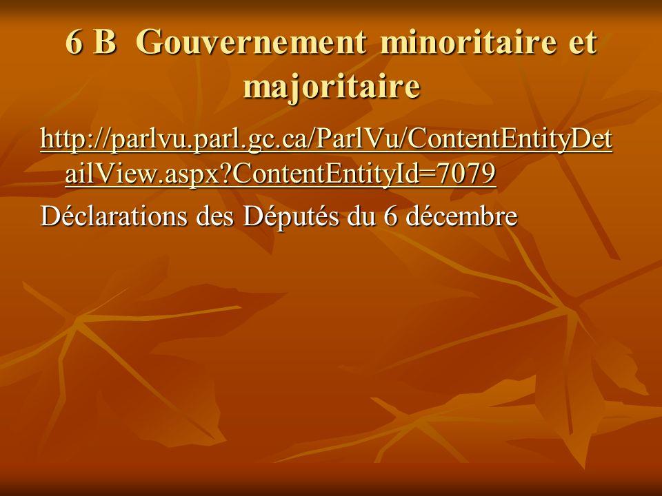 6 B Gouvernement minoritaire et majoritaire http://parlvu.parl.gc.ca/ParlVu/ContentEntityDet ailView.aspx ContentEntityId=7079 http://parlvu.parl.gc.ca/ParlVu/ContentEntityDet ailView.aspx ContentEntityId=7079 Déclarations des Députés du 6 décembre